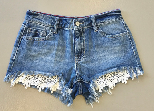 Mid Rise Crochet Shorts