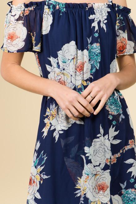 Off Shoulder High-Low Wrap Dress