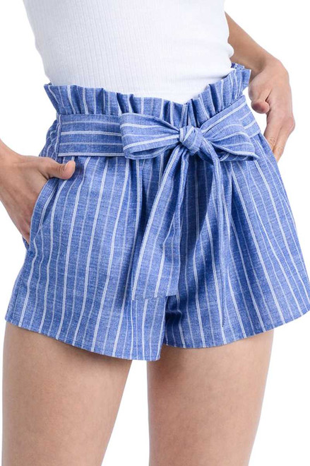 Striped Short with Ribbon Tie