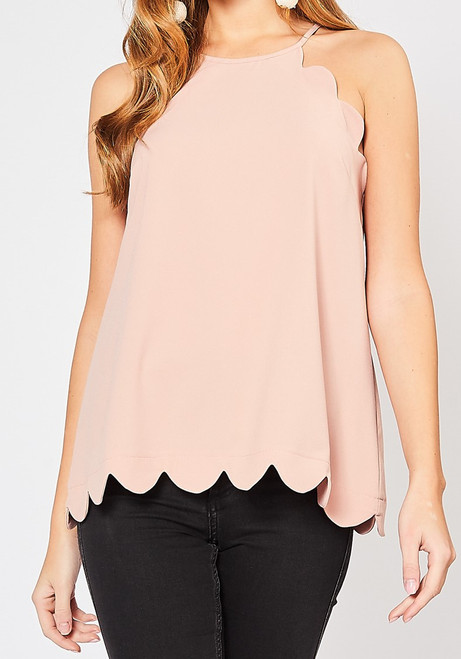 High Neck Scalloped Top