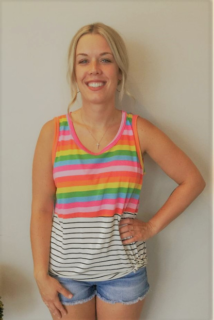 Striped Top with Twist Front