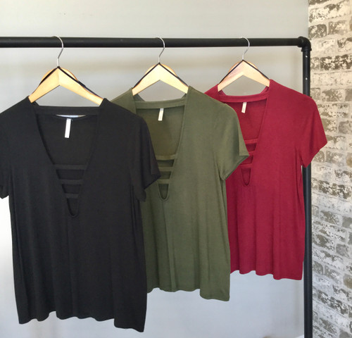 Solid Strappy Neck Detail Top