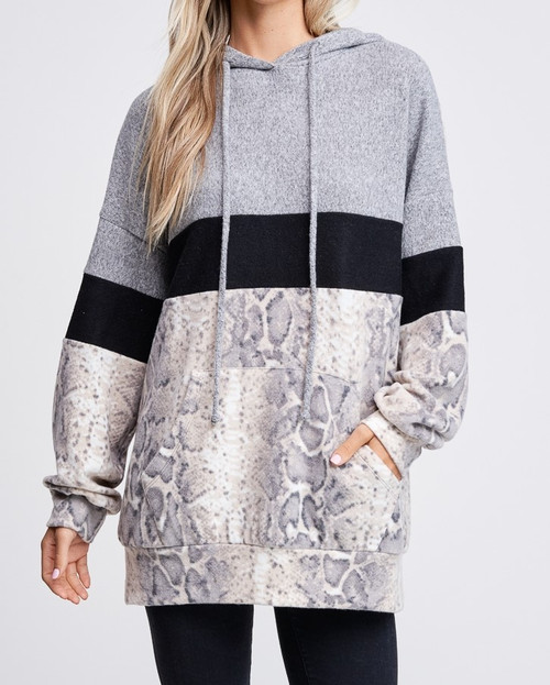 Snake Print Sweater with Hoodie