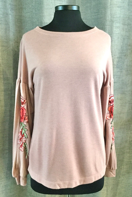 Long Sleeve Pullover Flower Patch Top