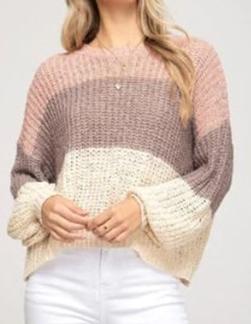 Bubble Sleeve Knit Sweater