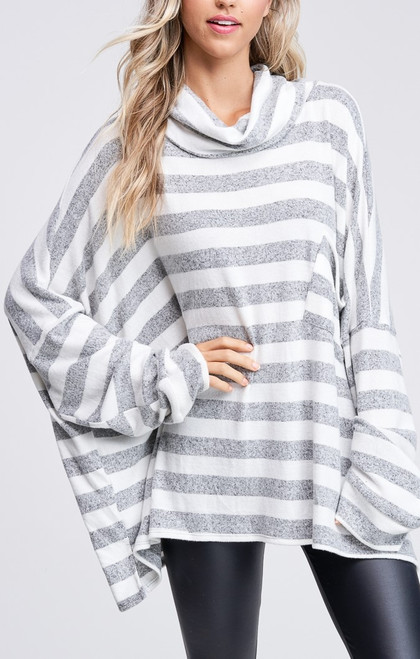 Striped Knit Sweater with Cowl Neck