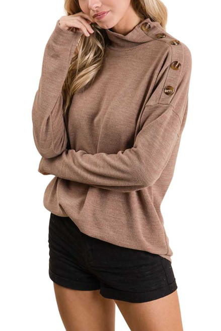 Button Detail High Neck Sweater