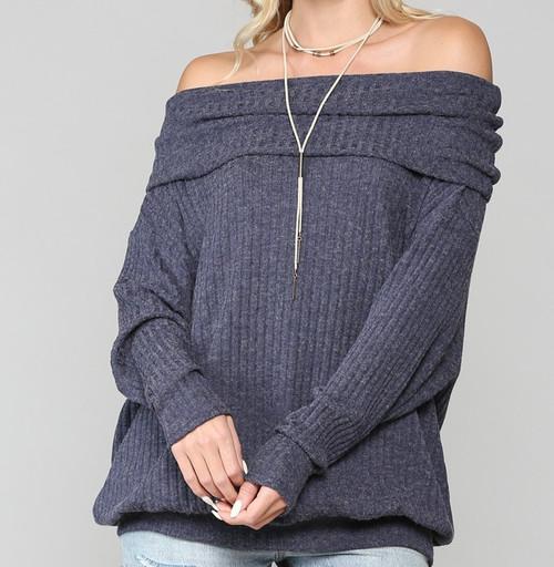 Off Shoulder Ribbed Pullover