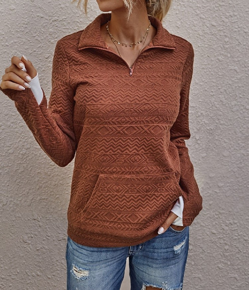 Zip Up Long Sleeved Sweater