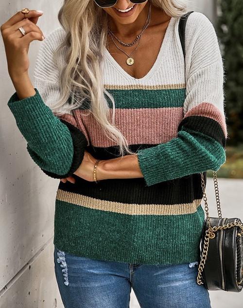Striped V Neck Sweater
