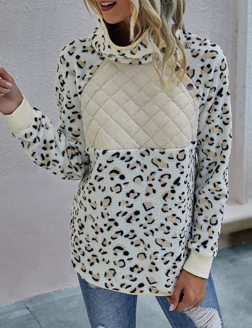 Button Print Long Sleeve Sweater