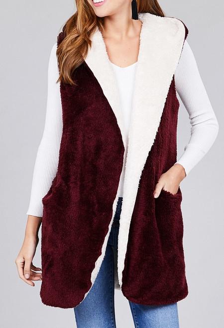 Open Front Hoodie Faux Fur Vest