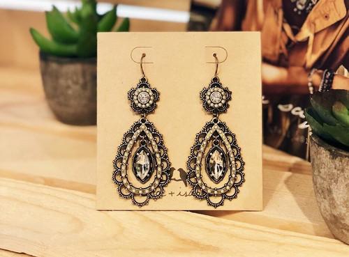Pearl and Crystal Floral Filigree Earrings