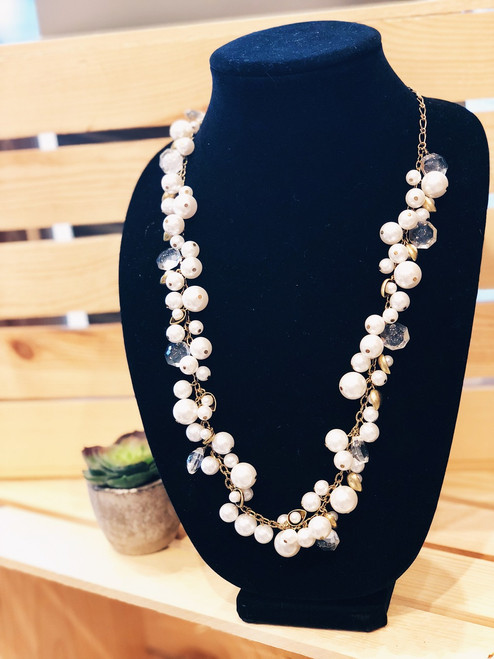 Pearl and Crystal Drops Long Necklace
