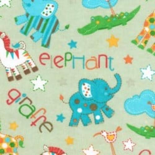 NURSERY FLANNEL ZEBRA/ELEPHANT - GREEN