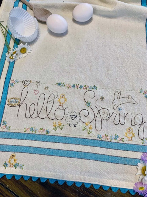 EMBROIDERED DISH TOWEL - Hello Spring