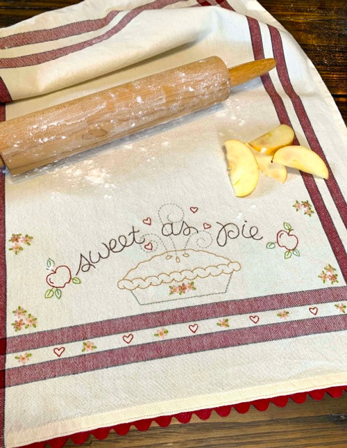 EMBROIDERED DISH TOWEL - Sweet as Apple Pie