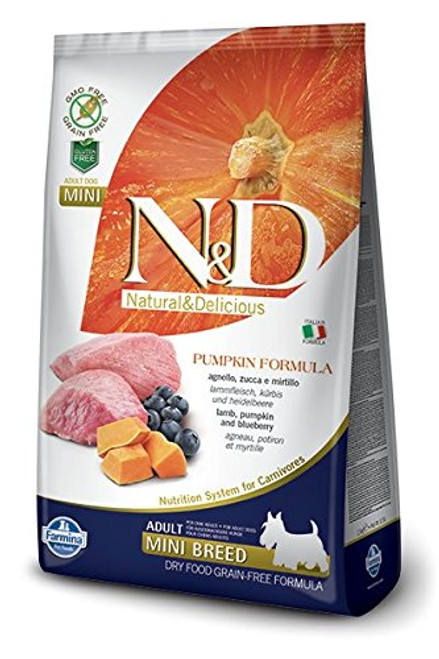 Farmina Natural & Delicious Grain-Free Pump Lamb & Blueberry Adult Mini Breed