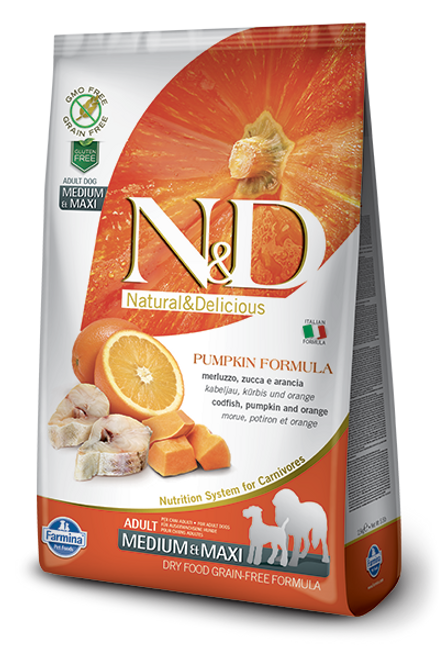 Farmina Natural & Delicious Grain Free Pumpkin, Codfish & Orange Medium/Maxi Breed Dry Dog Food