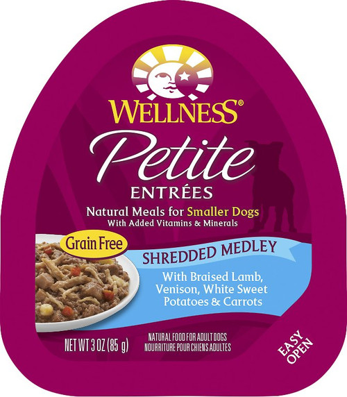 Wellness Petite Entrees Grain Free Shredded Medley with Braised Lamb, Venison, White Sweet Potatoes and Carrots