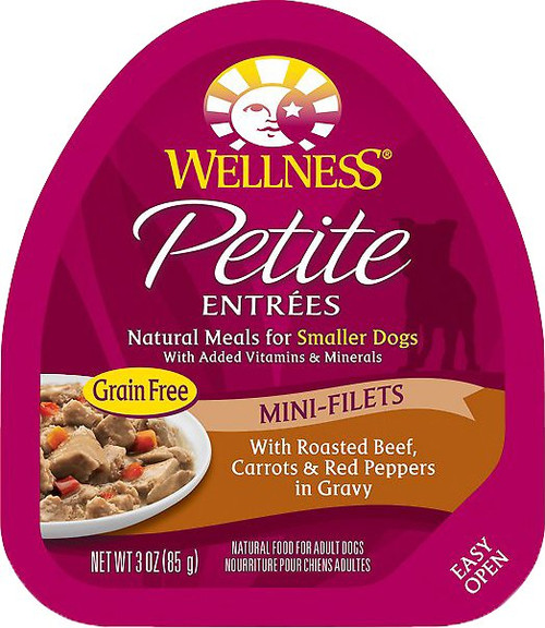 Wellness Petite Entrees Grain Free Mini-Filets with Roasted Beef, Carrots and Red Peppers in Gravy