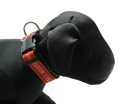Kips Keep Calm and Bark On Collar on Black Webbing