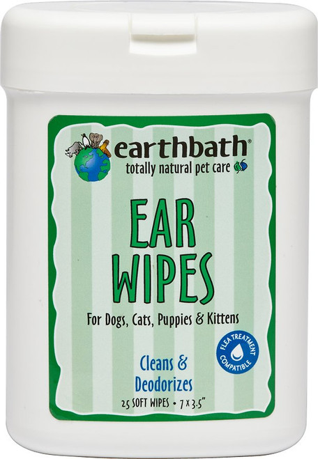 EarthBath Ear Wipes for Dogs, Cats, Puppies & Kittens