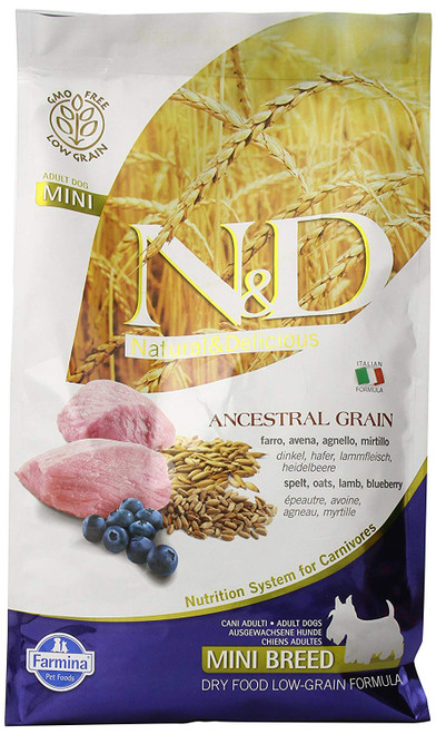 Farmina N&D Ancestral Grain Lamb and Blueberry Dry Dog Food for Mini Breeds