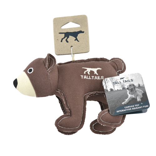 Tall Tails Brown Canvas Bear with Squeaker 5 Inches