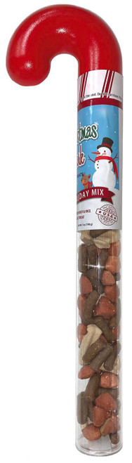 Christmas Bark Holiday Mix Treats in Candy Cane-Shaped Container