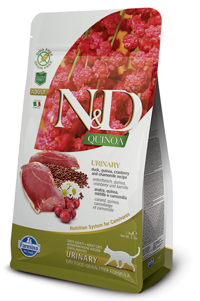 Farmina N&D Functional Quinoa Urinary Duck Cranberry and Chamomille Dry Cat Food