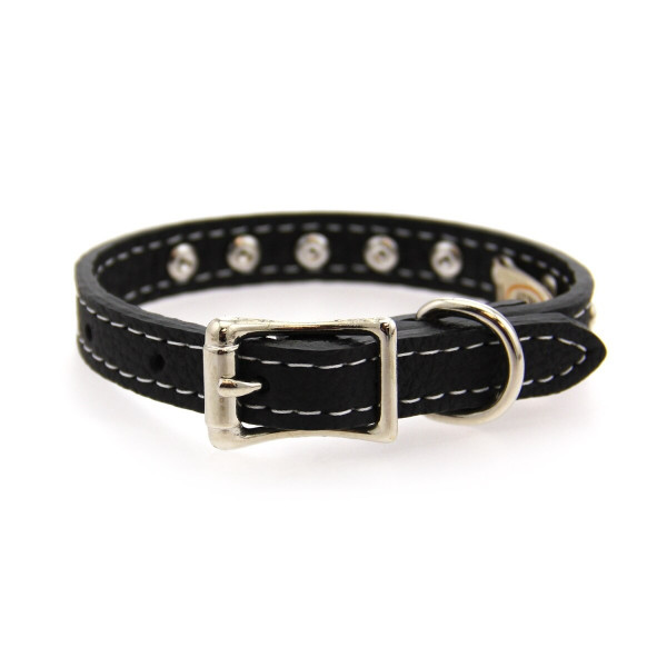 Tuscan Crystallized Leather Dog Collar Black
