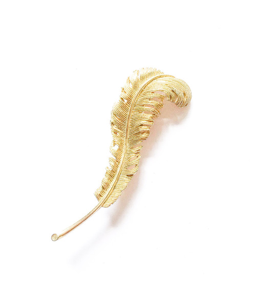 Vintage 40's CORO Gold Feather Brooch