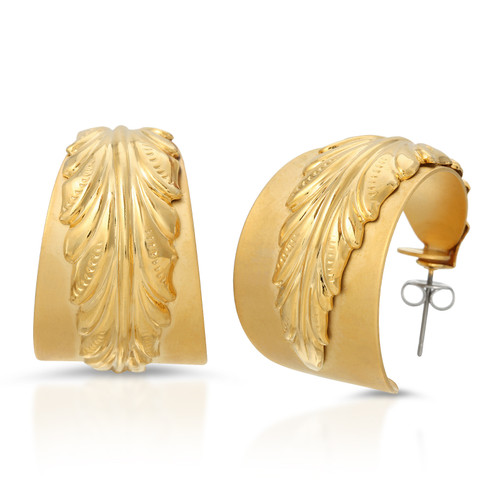 Vintage 80's Gold Angel Wing Hoops