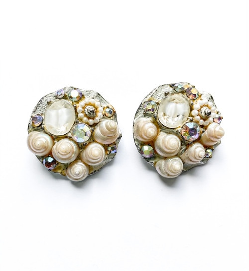Vintage 40's Seashell & Rhinestone Clip On Earrings