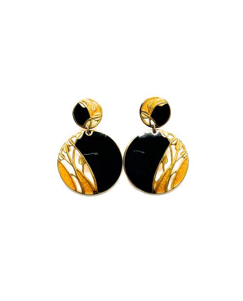 Vintage 80's EDGAR BEREBI Black Enamel Floral Art Nouveau Earrings