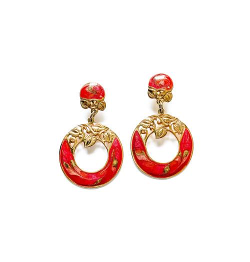 Vintage 80's EDGAR BEREBI Red Enamel Floral Art Nouveau Earrings
