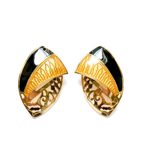 Vintage EDGAR BEREBI Amber & Onyx Enamel Art Nouveau Earrings