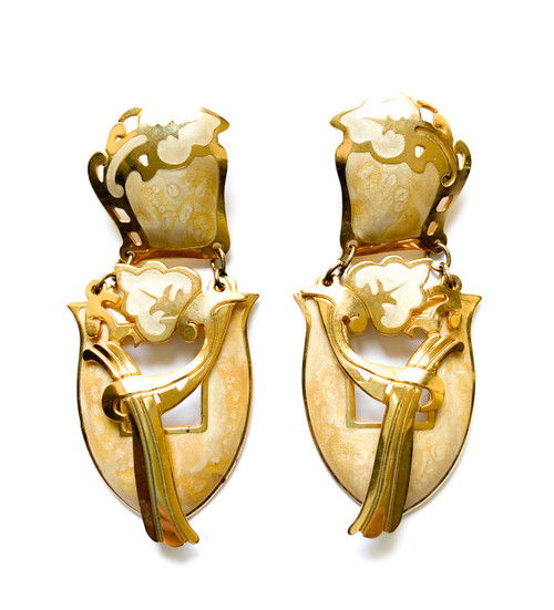 Vintage EDGAR BEREBI Ivory & Gold Enamel Art Nouveau Earrings