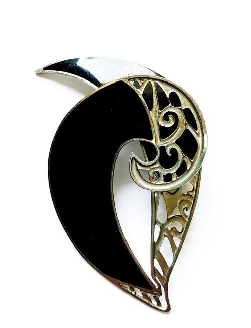 Vintage EDGAR BEREBI Black & Silver Enamel Art Nouveau Brooch