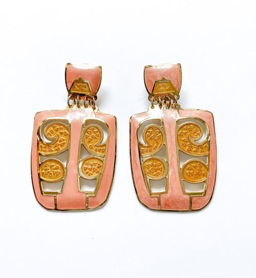 Vintage EDGAR BEREBI Peach & Gold Enamel Art Nouveau Earrings
