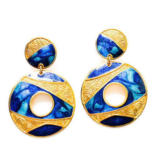 Vintage EDGAR BEREBI Cobalt Blue & Gold Enamel Art Nouveau Earrings