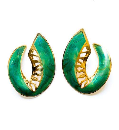 Vintage EDGAR BEREBI Emerald & Gold Enamel Art Nouveau Earrings