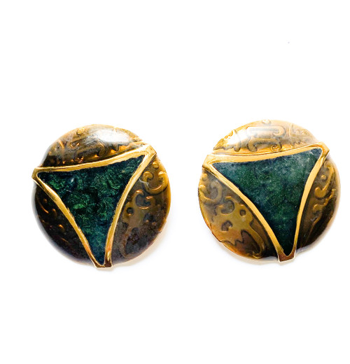 Vintage EDGAR BEREBI Bronze & Green Enamel Art Nouveau Earrings