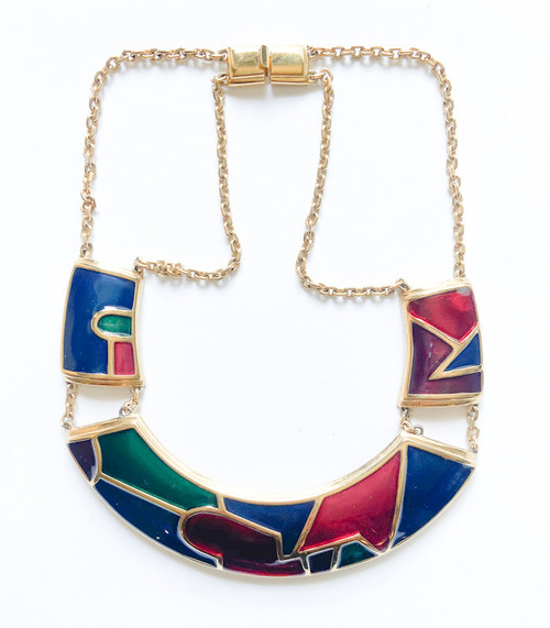 Vintage 80's MONET Enamel Gem Necklace