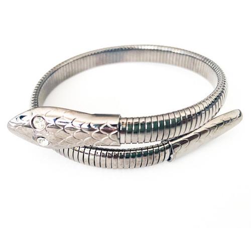 Vintage 80's Gunmetal Snake Cuff Bracelet