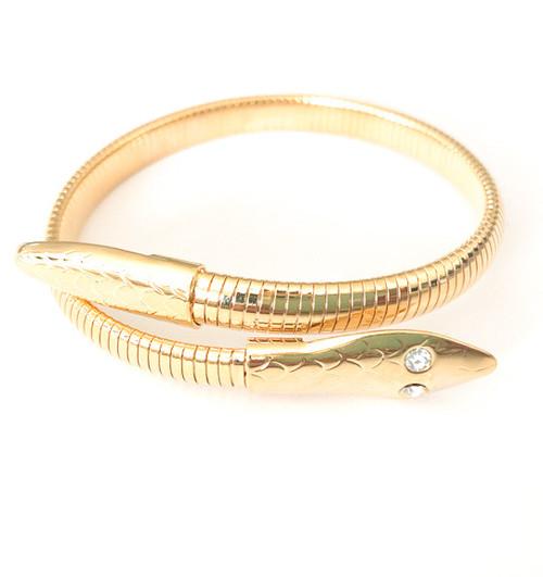 Vintage 80's Gold Snake Cuff Bracelet