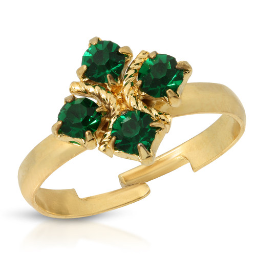 Vintage 80's Emerald Crystal Carree Ring