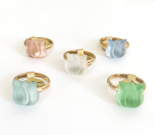 Vintage 40's German Glass Tulip Rings