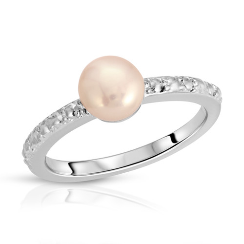 Vintage 80's Rosy Pink Freshwater Pearl Ring